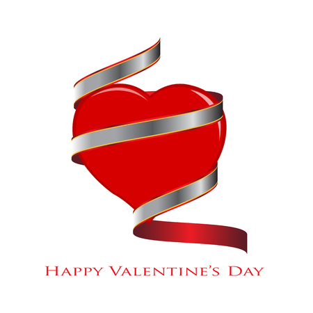 wrapped around: Vector Illustration, Heart with a ribbon wrapped around it. Space for your text. concept of Valentines Day. Illustration