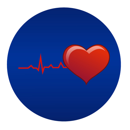 cardioid: Ilustración del vector; Cardiograma con el icono rojo en forma de corazón sobre fondo azul. Se puede utilizar para promoción y publicidad.