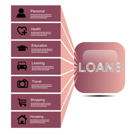 leasing: Vector illustration; Loans button, personal loan, housing, education, leasing, travel, healthcare, Shopping. Illustration