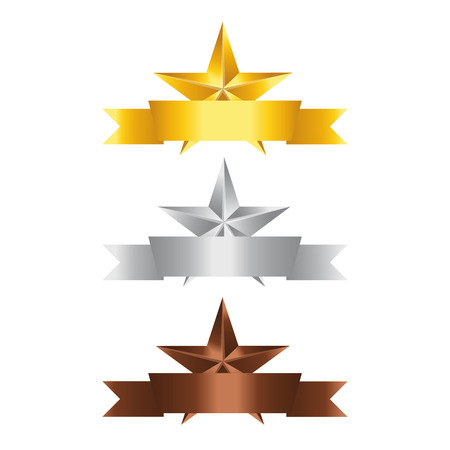 silver star: Vector illustration; Set of Stars. Gold Star, Silver Star and copper Star isolated on white Background. Illustration