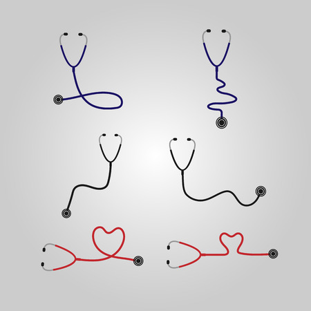 hospital gown: Vector illustration; A set of stethoscope icons design. Can be used to promote and advertise.