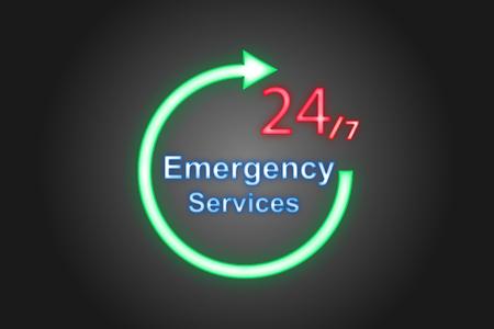 Ilustración del vector; Etiqueta de neón 247 servicios de emergencia sobre un fondo negro.