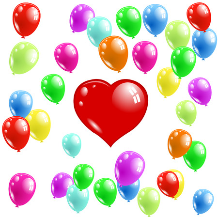 red balloons: Vector illustration; Red Heart-shaped balloons floating in the sky with of multicolored balloons.