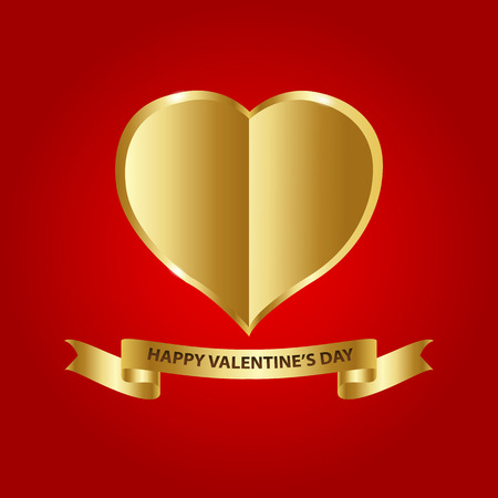 gold heart: Vector Illustration, Gold heart paper on red background. Space for your text. concept of Valentines Day.