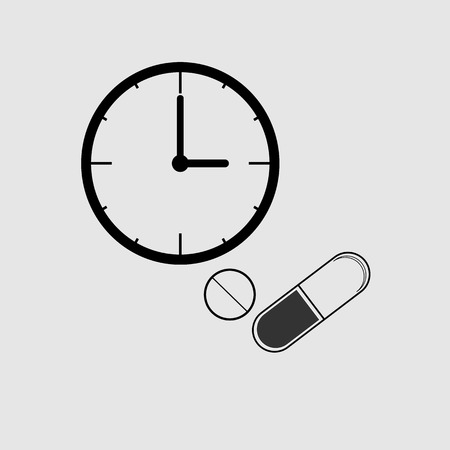 Vector illustration, icon flat, Medicine time prescription (Pills on time). The concept of health care.