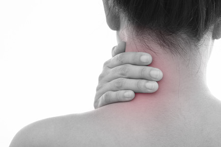 Rear view of a young women neck muscle pain. Red around the pain area.