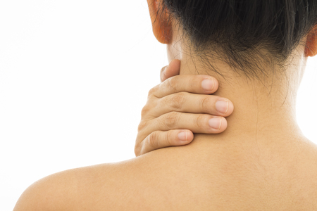 musculoskeletal: Rear view of a young women neck muscle pain. Red around the pain area.