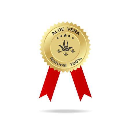 vera: aloe vera label gold badge with text natural 100% on red ribbon. Illustration
