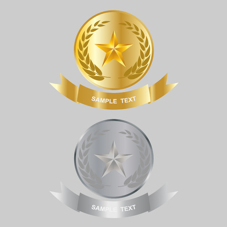 star award: Illustration of gold star and silver star award with shiny ribbon with space for your text. Illustration