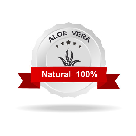 top veiw: Aloe vera label silver badge with text natural 100% on red ribbon.