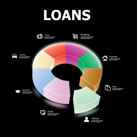 leasing: Loan Infographics circle with symbols