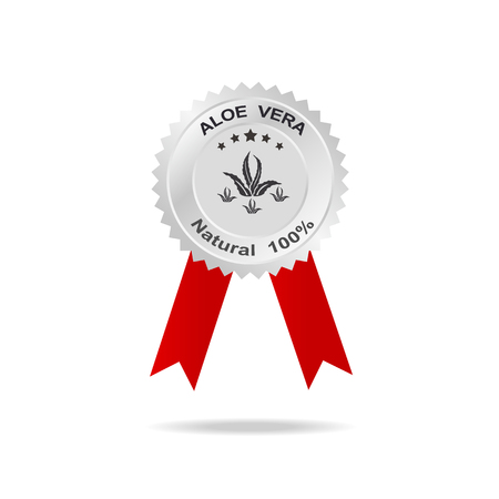 neutralize: Aloe vera label silver badge with text natural 100% on red ribbon.