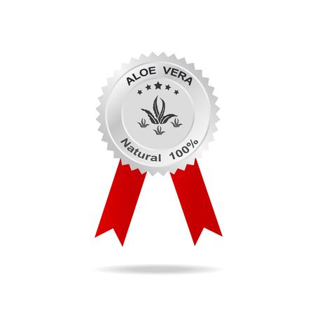 aloe vera: Aloe vera label silver badge with text natural 100% on red ribbon.