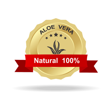top veiw: Aloe vera label gold badge with text natural 100% on red ribbon.
