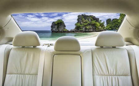 headrest: The view from the front overlooking the back seat of the car. Stock Photo