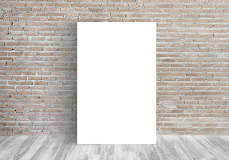 old poster: White Blank Poster in old brick wall and wooden floor room,Template Mock up for your content. For product display and advertising and promotional purposes.
