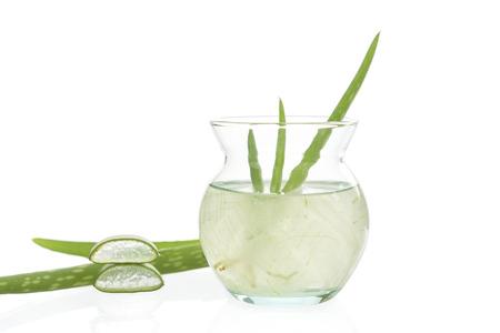 top veiw: aloe vera gel on glass bottles isolated on white background. Stock Photo