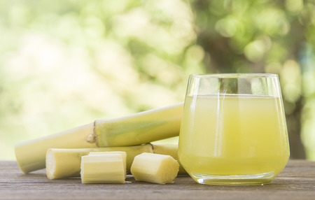 Fresh squeezed sugar cane juice in glass with cut pieces cane on nature background