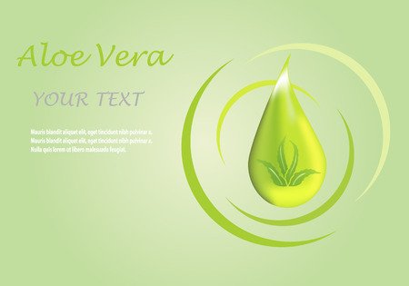 be green: illustration; Aloe vera icon on a green background, can be used as  promotional and advertising posters. Illustration