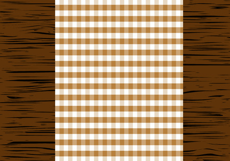 chequered drapery: Checkered tablecloth on wooden table, top view, illustration.