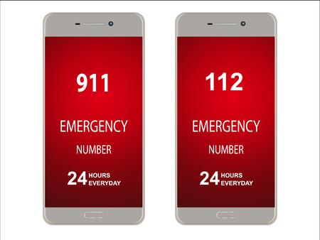 emergency room: Smartphone, mobile phone with emergency number isolated on white , mock up illustration. Illustration