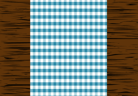 tablecloth: Checkered tablecloth on wooden table, top view, illustration.