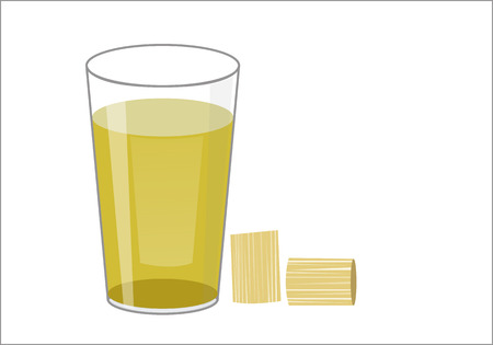 sugar cane: Fresh squeezed sugar cane juice in glass with cut pieces cane isolated on white background. illustration. Illustration