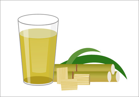 Fresh squeezed sugar cane juice in glass with cut pieces cane isolated on white background. illustration. 向量圖像