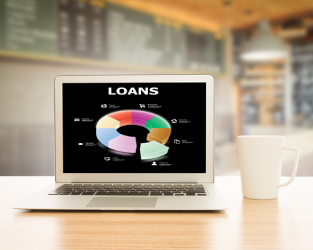 Infographics circle loan on laptop screen. The concept of a loan. Stock Photo