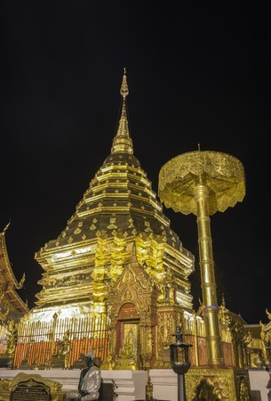 mais: At night, Wat Phra That Doi Suthep, Chiang Mais famous land mark, Thailand. Stock Photo
