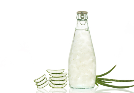 contributes: Aloe vera juice isolated on white background. Can help neutralize free radicals Contributes to aging. And help strengthen the immune system as well. Stock Photo
