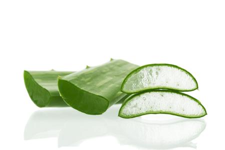 Aloe vera sliced isolated on a white background.