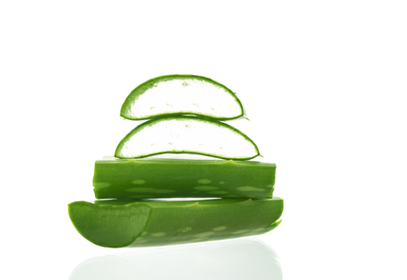 radicals: Aloe vera sliced isolated on a white background.