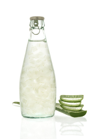free radicals: Aloe vera juice isolated on white background. Can help neutralize free radicals Contributes to aging. And help strengthen the immune system as well. Stock Photo