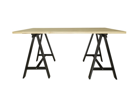 empty wooden table isolated on white backgroud for product display. With clipping path. Stock Photo