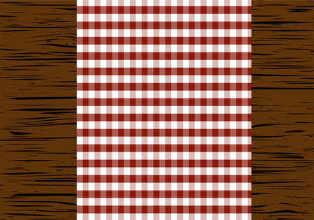a tablecloth: Checkered tablecloth on wooden table, top view, vector illustration.