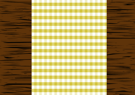 table top: Checkered tablecloth on wooden table, top view, vector illustration.