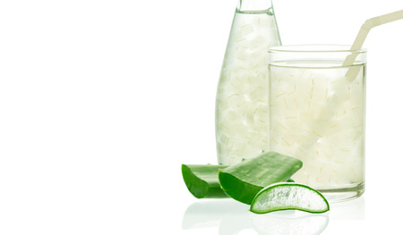 contributes: Aloe vera juice in glass isolated on white background with space for text and logo.. Can help neutralize free radicals Contributes to aging. And help strengthen the immune system as well.