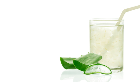 radicals: Aloe vera juice in glass isolated on white background with space for text and logo.. Can help neutralize free radicals Contributes to aging. And help strengthen the immune system as well.