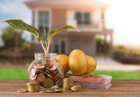 coins jar with sprout growing, banknote, golden eggs, golden coin on new house background. Investment property concept. Concept of Tax planning of housing. Investment growth concept.