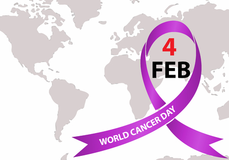 World Cancer Day with ribbon. February 4  lavender purple colour symbolic ribbons for raising awareness of all kind tumors supporting people living.  illness Ilustração