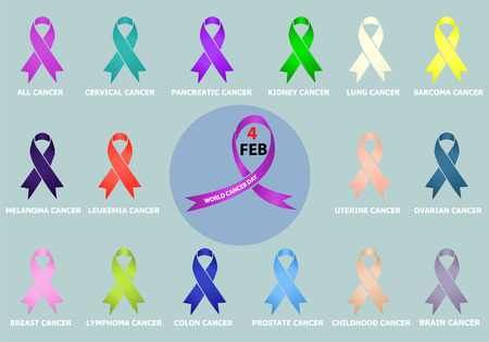 Ribbon pack campaign against cancer. Vector illustrations.