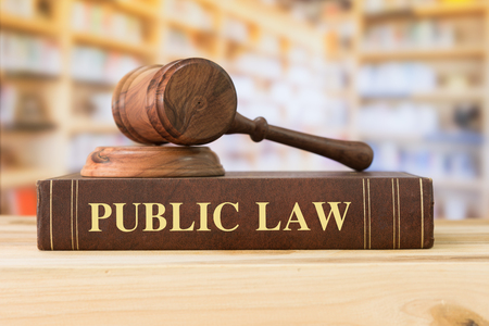 enforce: Public Law book with a judges gavel on desk in the library. Law education ,law books ,public law concept.