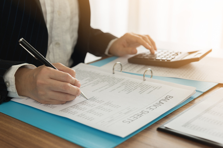 Accountant verify the accuracy of financial statements. Bookkeeping, Accountancy, Accounting Concept.