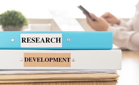 Documentation, Research and Development  on desk in meeting room. Standard-Bild
