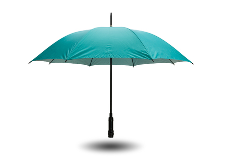 Green umbrella isolated on white background with clipping path. Stock Photo