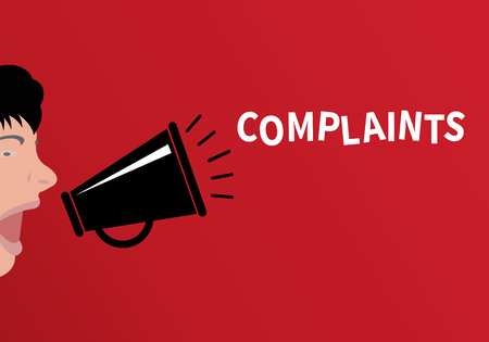 Concept of complaint People shouting through the megaphone with the word complaints - flat design, vector illustration Zdjęcie Seryjne