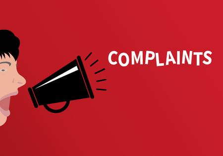 Notion de plainte Les gens criant à travers le mégaphone avec le mot plaintes - design plat, illustration vectorielle