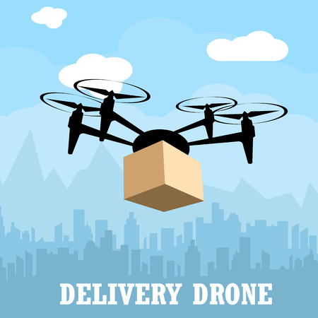 Delivery drone with the package against city background. Transportation, logistic concept. vector illustration. Banco de Imagens