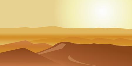 Dry desert under sun, endless sand desert, Lonely sand dunes under dramatic evening sunset. Vector illustration